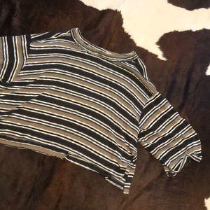 Beige/Gray/White/Brown/Black Striped Shirt
